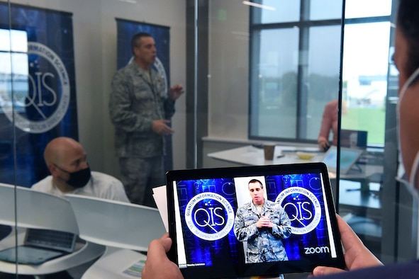 Col. Timothy Lawrence, director of AFRL's Information Directorate at Rome, N.Y., speaks during the event. (Courtesy photo)