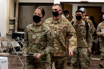 Members of Team Osan prepare to receive the first round of the Moderna COVID-19 vaccine at Osan Air Base, Republic of Korea, Dec. 29, 2020.