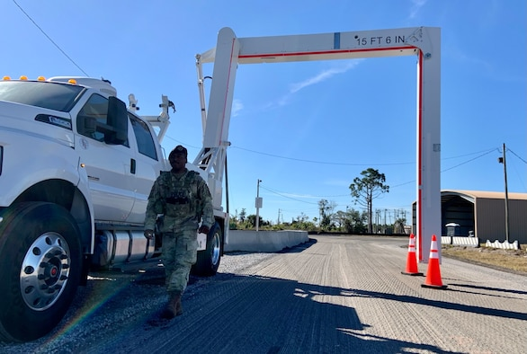 Senior Airman Qwuantez Harris, 325th Security Forces Squadron search specialist, readies Tyndall AFB's new Mobile Vehicle Access Control Inspection System, or VACIS M6500, for incoming commercial vehicles.