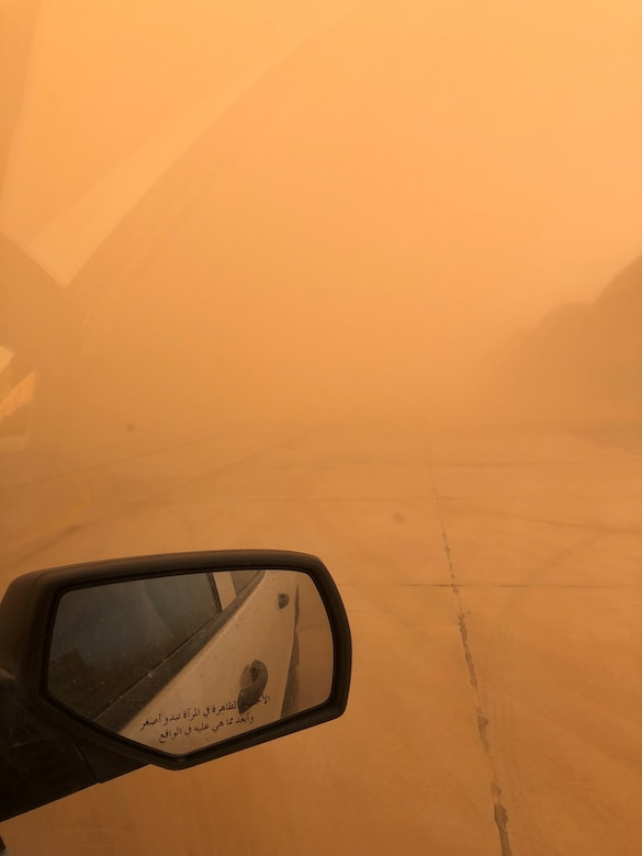 Air quality and visibility is diminished during a dust storm at the 407th Air Expeditionary Group, Ahmad al-Jaber Air Base, Kuwait in 2018. (Courtesy photo from Chief Master Sgt. Ryan Gigliotti)
