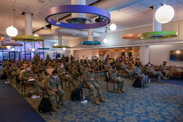U.S. Air Force medical providers receive a brief on how to utilize their Joint All-Domain Command and Control devices at the David Grant U.S. Air Force Medical Center, Travis Air Force Base, Fairfield, Calif., Dec. 27, 2020.