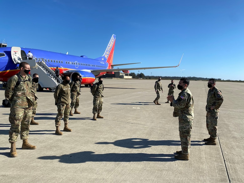 New USSF enlistees arriving at Vandenberg AFB airfield