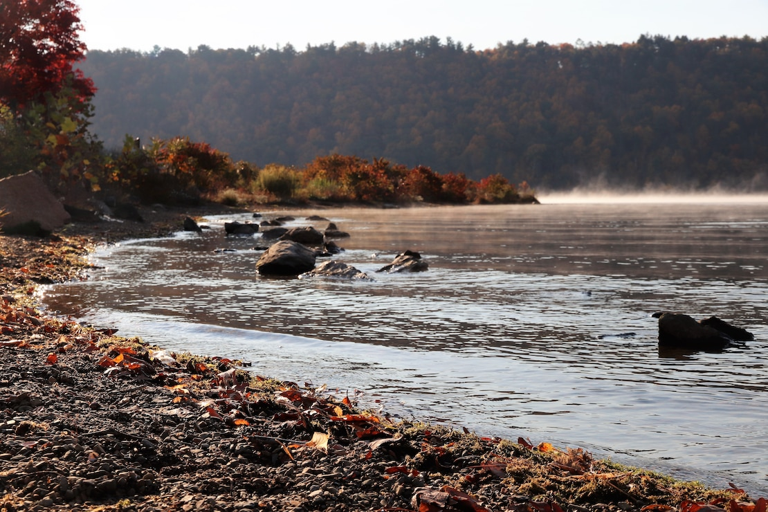Photo shows lake fog and fall foliage at Beltzville Lake