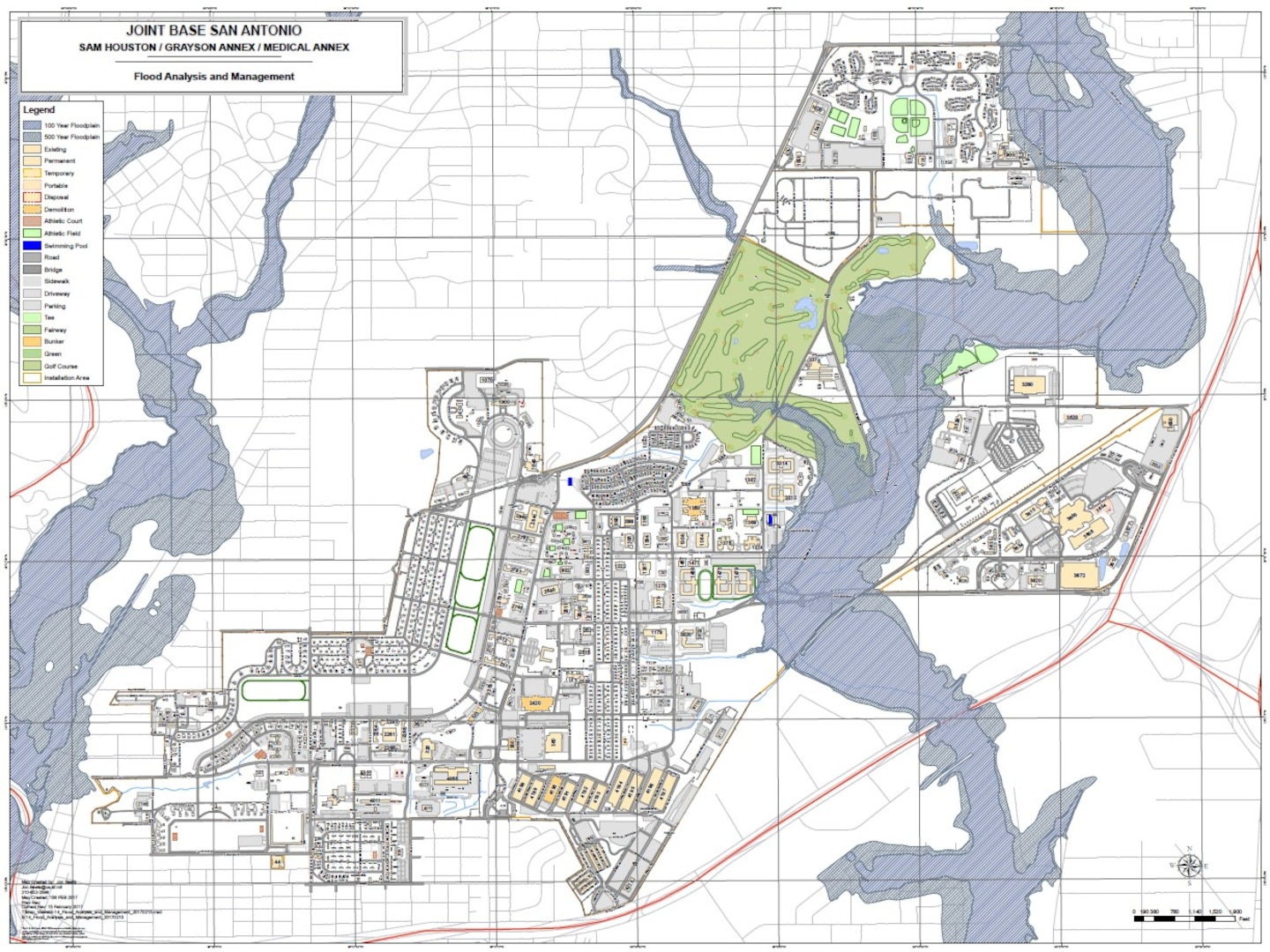 Joint Base San Antonio-Fort Sam Houston flood map. Many Roads may flood, especially around the Benz Engleman Gate and Walters Gate. These low areas are associated with the Salado Creek Floodplain.