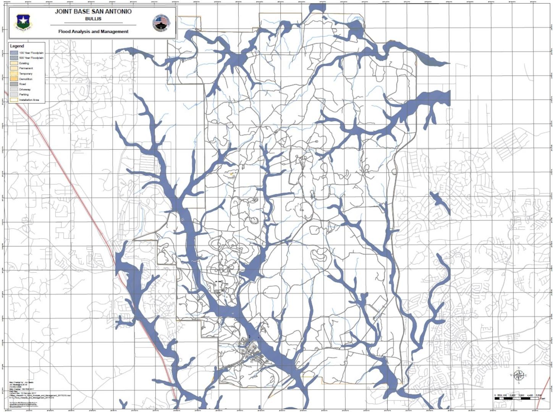 Joint Base San Antonio-Camp Bullis flood map. Many roads at this location may flood.