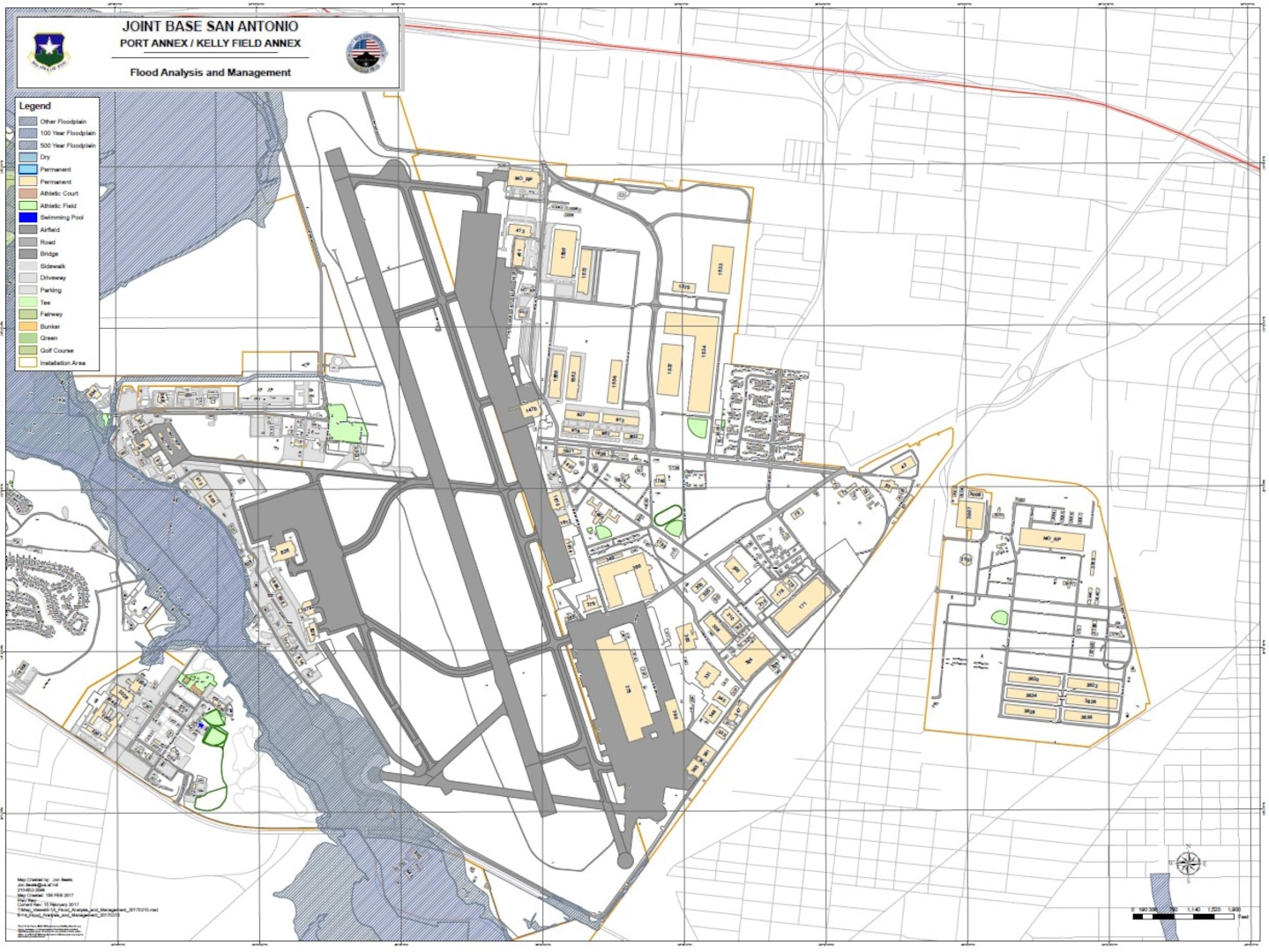 Joint Base San Antonio-Kelly Field Annex flood map.