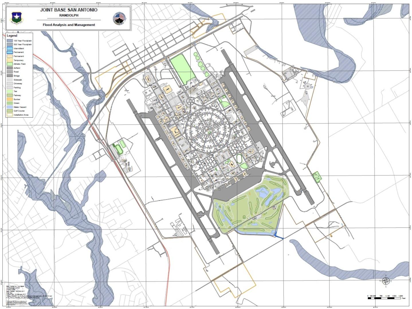 Joint Base San Antonio-Randolph flood map.