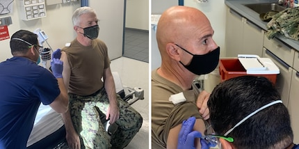 U.S. Navy Adm. Craig Faller, commander of U.S. Southern Command, and U.S. Army Command Sergeant Major Benjamin Jones, SOUTHCOM's senior enlisted leader, receive the COVID-19 vaccine at SOUTHCOM headquarters.