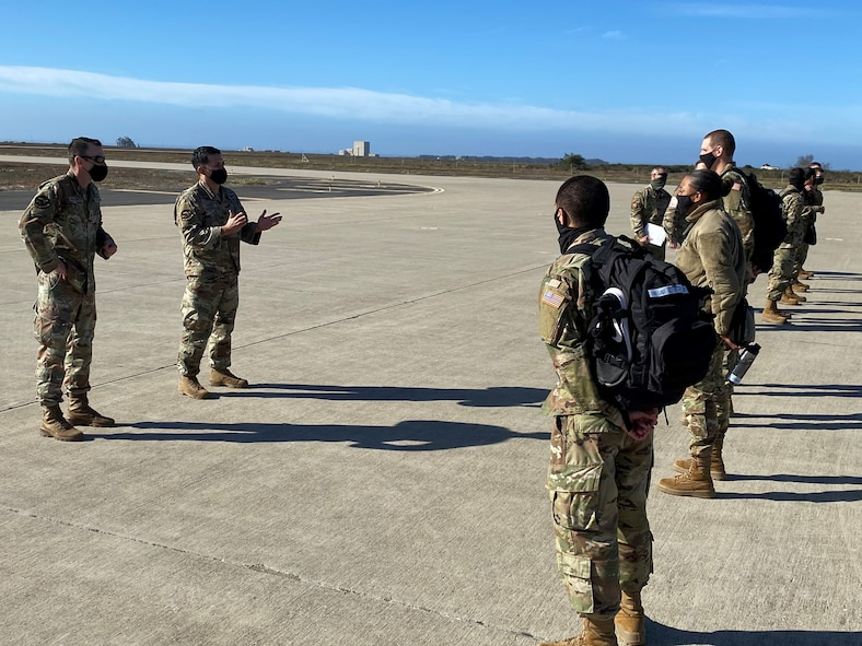 New USSF enlistees arriving at Vandenberg AFB airfield