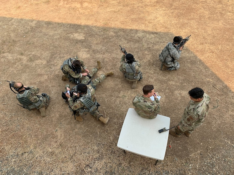 Genesis students from the 940th Security Forces Squadron train how to perform medical aid while calling a 9-line for MED-EVAC in spring 2020 at Beale Air Force Base, California.