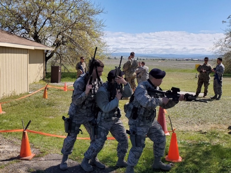 Genesis training program students from the 940th Security Forces Squadron practice what they learned at the tape-house portion of their training in spring 2020 at Beale Air Force Base, California.