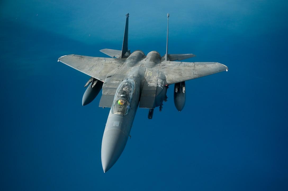 A U.S. Air Force F-15E Strike Eagle flies over the Arabian Gulf, Jan. 17, 2020.