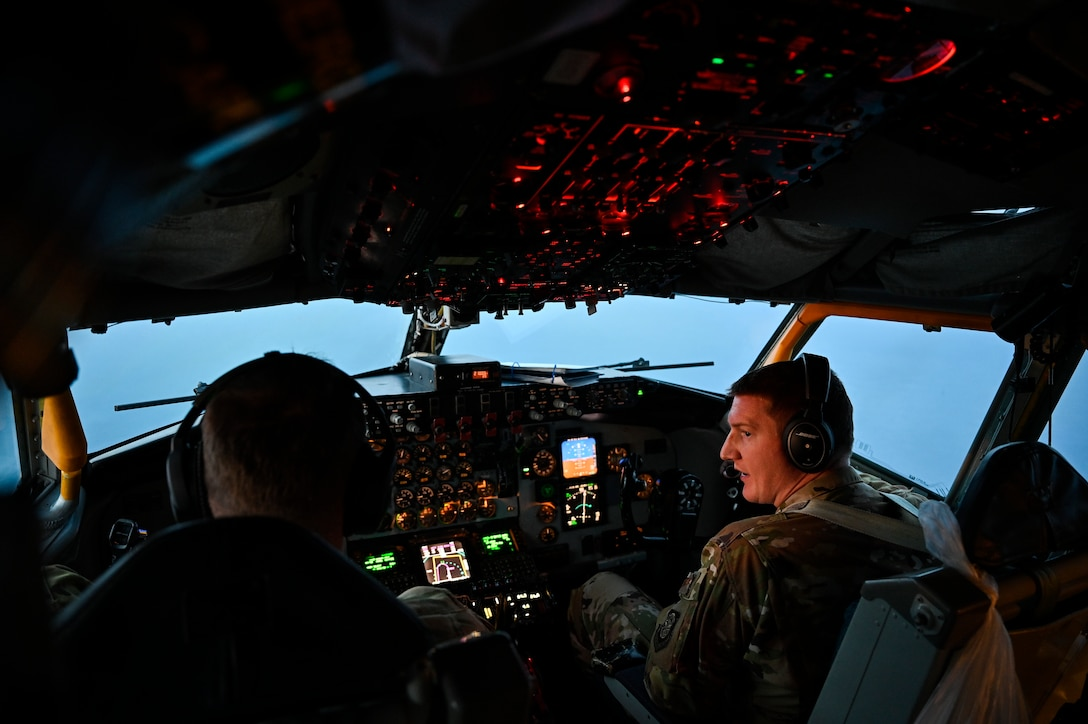 U.S. Air Force KC-135 Stratotanker pilots with the 28th Expeditionary Air Refueling Squadron, deployed to Al Udeid Air Base, Qatar, conducts an air refueling mission over the Arabian Gulf, Jan. 17, 2020.