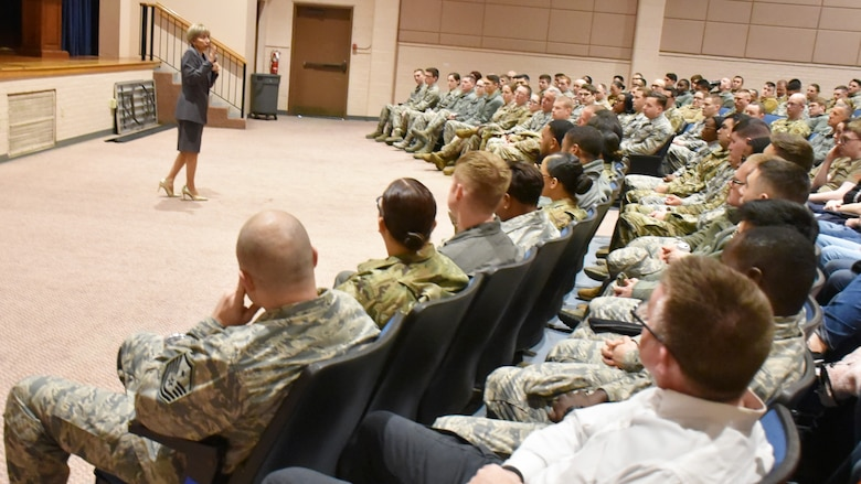 Retired Chief Master Sgt. Ericka Kelly, speaks to Airman of the 931st Air Refueling Wing at an enlisted all-call Feb. 1, 2020, at McConnell Air Force Base, Kan.  Kelly, the former Air Force Reserve's Senior Enlisted Advisor and AFRC's Command chief master sergeant, took time to listen to the unique challenges Reserve Airmen face balancing individual wellness, service, careers and family.