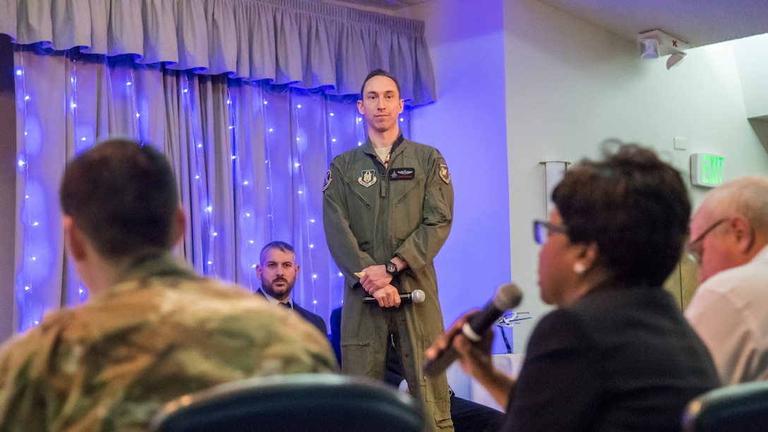 Lt. Col. Raven LeClair, 370th Flight Test Squadron and F-35 JSF, fields questions from a panel of six judges during the Spark Tank Innovation Showcase event at Edwards Air Force Base, California, Jan. 29. (Air Force photo by Giancarlo Casem)