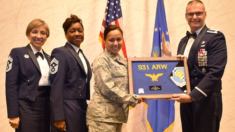 Annual Award winners are recognized by Col. Phil Heseltine, 931st Air Refueling Wing commander, Feb. 1, 2020, at Derby, Kan. The annual awards banquet in a tradition that honors and celebrates Airmen who've performed exemplary service.