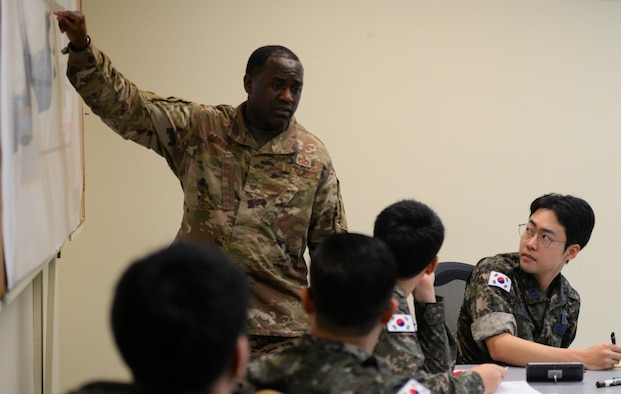 U.S. Air Force Master Sgt. Larry Washington, 554th Red Horse Squadron engineering specialist, teaches a class of foreign military partners during exercise Silver Flag Jan. 28, 2020 at Andersen Air Force Base, Guam.