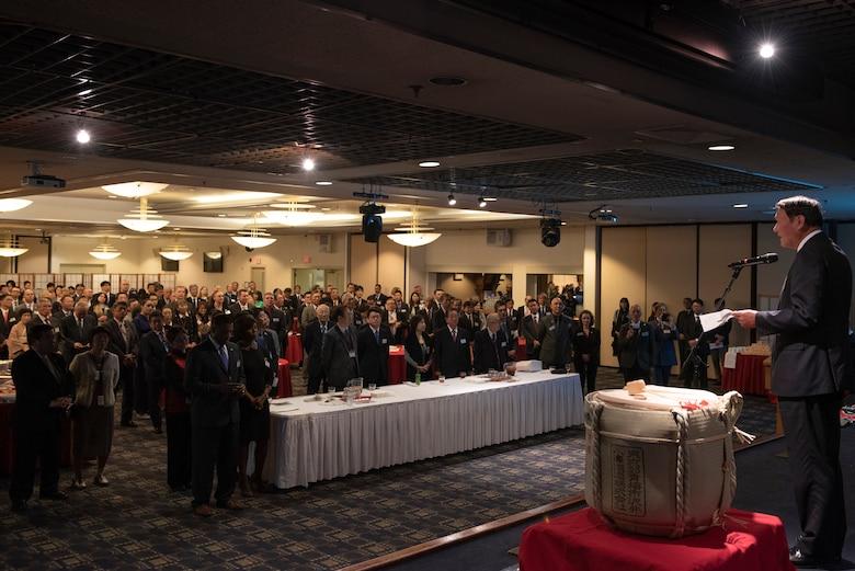 Keiichi Hamanaka, mayor of Ome City, gives remarks representing all the guests during the U.S.-Japan Joint New Year's Party, Jan. 25, 2020, at Yokota Air Base, Japan.