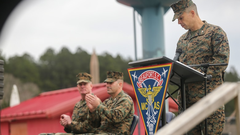 Col. Timothy P. Miller, commanding officer, Marine Corps Air Station Beaufort, speaks at a ribbon cutting ceremony at Townsend Bombing Range, the east coast's premier air-to-ground bombing range, to commemorate its expansion and modernization, at MCAS Beaufort, S.C.,  Jan 29, 2020. The range has expanded from 5,183 acres to 33,834 acres which now allows pilots and air crews to train with precision guided munitions. TBR will continue to allow our pilots to train to deploy without deploying to train. (U.S. Marine Corps photos by Lance Cpl. Aidan Parker)