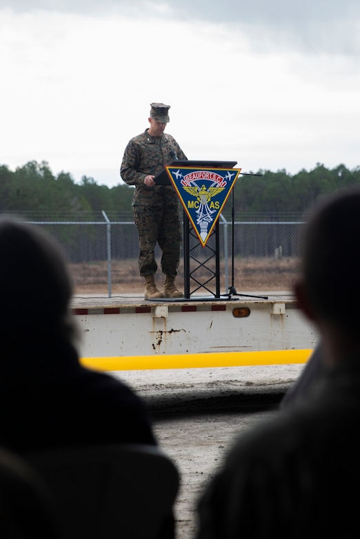 Col. Timothy P. Miller, commanding officer, Marine Corps Air Station Beaufort, gives a speech at the Townsend Bombing Range Ribbon Cutting Ceremony at MCAS Beaufort, S.C., Jan. 29, 2020. TBR is the east coast's premier air-to-ground bombing range, and the ceremony commemorated its expansion and modernization. The range has expanded from 5,183 acres to 33,834 acres which now allows pilots and air crews to train with precision guided munitions. TBR will continue to allow our pilots to train to deploy without deploying to train. (U.S. Marine Corps photos by Lance Cpl. Nicholas Buss)