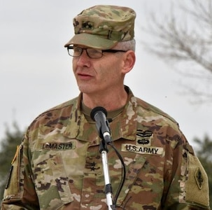 Maj. Gen. Dennis P. LeMaster, U.S. Army Medical Center of Excellence commander, addresses the audience at the MacArthur Parade Field at Joint Base San Antonio-Fort Sam Houston Jan. 31.