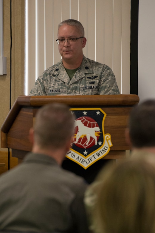 Lt. Col. Charles Nasser addresses the audience at his assumption of command ceremony, Feb. 1, 2020. Nasser steps into the 167th Mission Support Group commander role after serving as the deputy group commander.