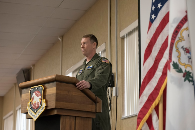 Col. Christopher Sigler explains his vision for the 167th Operations Group during his assumption of command ceremony Feb. 2, 2020 at the 167th Airlift Wing. Sigler served as the 167th Mission Support Group commander prior to moving into the operations group commander role.