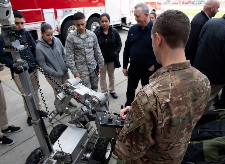Airmen show and explain their jobs to cadets who traveled from Puerto Rico to better understand the operational Air Force.
