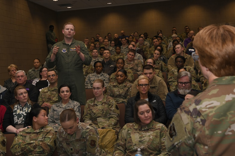 Lt. Gen. Dorothy Hogg, the Air Force surgeon general, is asked a question by a medic with the 28th Medical Group, at Ellsworth Air Force Base, S.D., Jan. 30, 2019. Her visit was focused on understanding the critical role the 28th MDG has in U.S. combat airpower operations. (U.S. Air Force photo by Senior Airman Nicolas Z. Erwin)