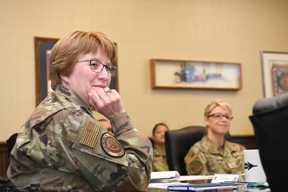 Lt. Gen. Dorothy Hogg, Air Force Surgeon General, receives a 28th Bomb Wing mission brief at Ellsworth Air Force Base, South Dakota, Jan. 30, 2020. The Air Force Surgeon General is responsible for developing plans, programs and procedures in support of worldwide Air Force operations. (U.S. Air Force photo by Senior Airman Nicolas Z. Erwin)