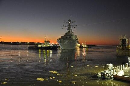 USS Fitzgerald (DDG 62) departs Huntington Ingalls Industries Ingalls Shipbuildings Pascagoula shipyard