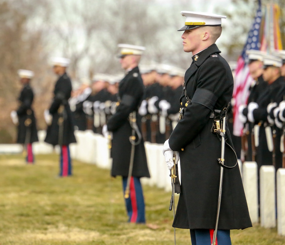 """Marines stand at """"ceremonial at ease"""" during a full honors funeral for Brig. Gen. Donald H. Brooks at Arlington National Cemetery, Jan. 29."""