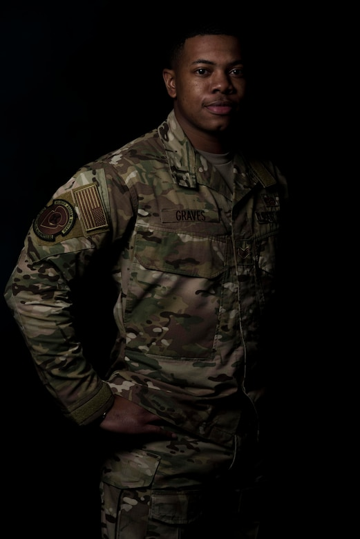 Staff Sgt. TeDera Graves II, 27th Special Operations Logistics Readiness Squadron commander's support staff non-commissioned officer in charge, poses for a portrait at Cannon Air Force Base, New Mexico, Jan. 31, 2020. Graves has overcome numerous challenges and setbacks throughout his life and has used the lessons he learned from those events to become a more effective Airman and leader. (U.S. Air Force photo by Senior Airman Maxwell Daigle)