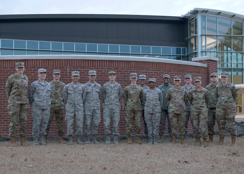 Biomedical Science Corp Officers gather in front of the Thomas Koritz Clinic to celebrate BSC Appreciation Week, Jan. 30, 2020, at Seymour Johnson Air Force Base, N.C.
