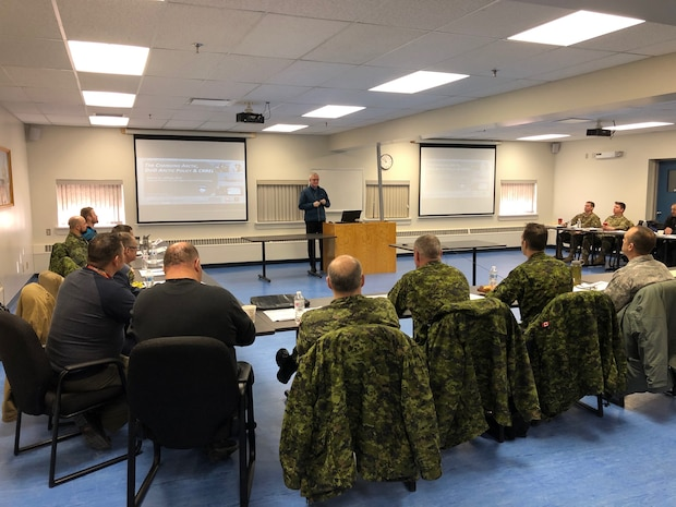 Dr. Martin Jeffries from the Cold Regions Research and Engineering Laboratory presents a portion of his research and observations with the members of the Arctic Air Power Seminar, (3rd edition), at 5 Wing Goose Bay, Newfoundland and Labrador on January 21, 2020.