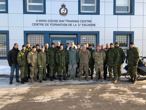 Members of the Arctic Air Power Seminar, (3rd edition), pose for a group photo at 5 Wing Goose Bay, Newfoundland and Labrador on January 21, 2020.