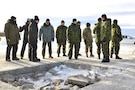 Members of the Arctic Air Power Seminar, (3rd edition), visit the Cold Rapid Airfield Damage Repair test and evaluation at 5 Wing Goose Bay, Newfoundland and Labrador on January 22, 2020.