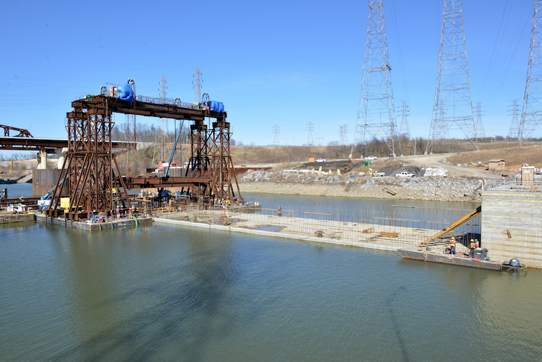 The U.S. Army Corps of Engineers Nashville District and its contractor partner Johnson Brothers put a 1.7 million pound concrete shell into position Feb. 2, 2020 on the riverbed on downstream end of Kentucky Lock where it will be part of a coffer dam and eventually a permanent part of the new lock wall for the Kentucky Lock Addition Project. It is the last of 10 shells. The lock is located at Kentucky Dam, which is a Tennessee Valley Authority project at Tennessee River mile 22.4. (USACE Photo by Mark Rankin)