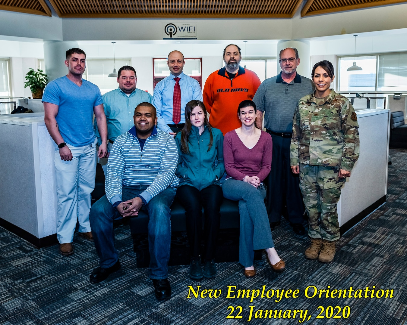 Group photo of 8 new employees who attended the new employee orientation on January 22 and 23, 2020.