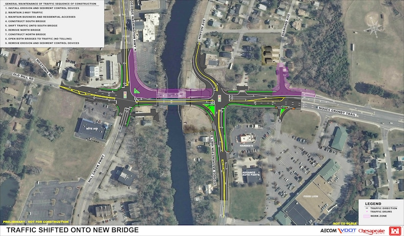 This graphic shows the traffic plan during construction, once the new span is built and the old span is being demolished.