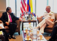 Colombia's Minister of Defense, Carlos Holmes Trujillo, meets with at U.S. Southern Command commander, U.S. Navy Adm. Craig Faller.