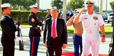 Colombia's Minister of Defense, Carlos Holmes Trujillo, arrives at U.S. Southern Command.