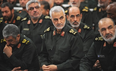 Iranian Quds Force commander Qassem Soleimani attends Iranian supreme