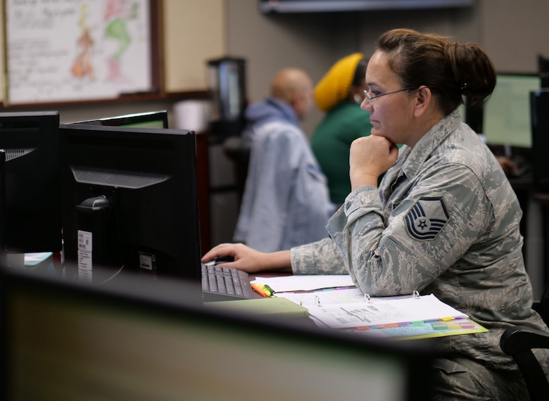 Master Sgt. Patti Carazo-Danner, a personnelist assigned to the 380th Space Control Squadron at Peterson Air Force Base, Colorado, processes an evaluation during training hosted by Headquarters Air Reserve Personnel Center Jan. 31, 2020. The evaluations training was a 10-day course designed to provide command support staffs, force support squadrons and military personnel flights with knowledge and insights, as well as real-time feedback, for more efficiently processing evaluations for their members. (U.S. Air Force photo by Master Sgt. Leisa Grant/Released)