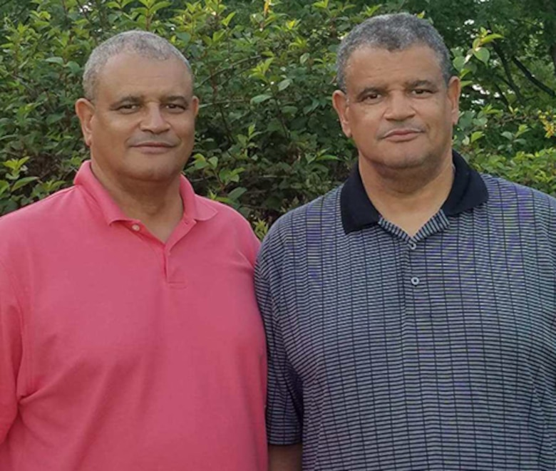 Melvin and Kelvin Bowen pose for a picture together in 2019. The Bowen brothers now live miles part. Kelvin lives in Louisiana currently working at Air Force Global Strike Command and Melvin is living in Nebraska working at U.S. Strategic Command. (Courtesy photo by Kelvin Bowen)