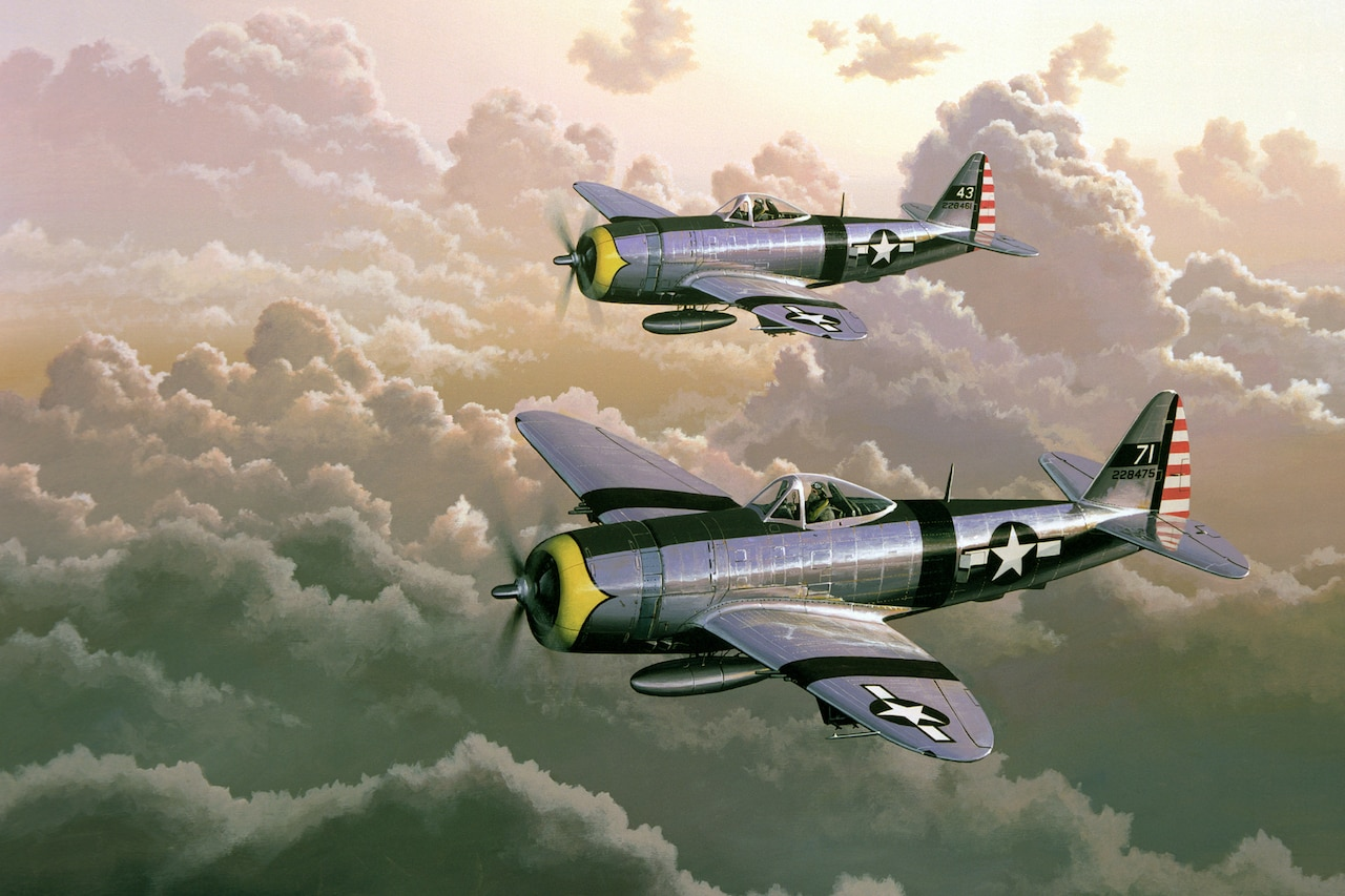 A drawing of two P-47 Thunderbolt fighter jets flying over clouds.