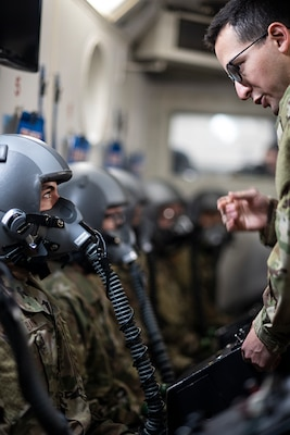First Lt. Eric Sprung, 359th Aerospace Medicine Squadron aerospace physiologist, tests a student's oxygen mask seal Jan. 28, 2020 at Joint Base San Antonio-Randolph, Texas. Airmen in Air Force specialties including enlisted aircrew, pararescue, remotely piloted aircraft sensor operators and pilots must first learn about human performance in airborne operations. (U.S. Air Force photo by Tech. Sgt. Katherine Spessa)