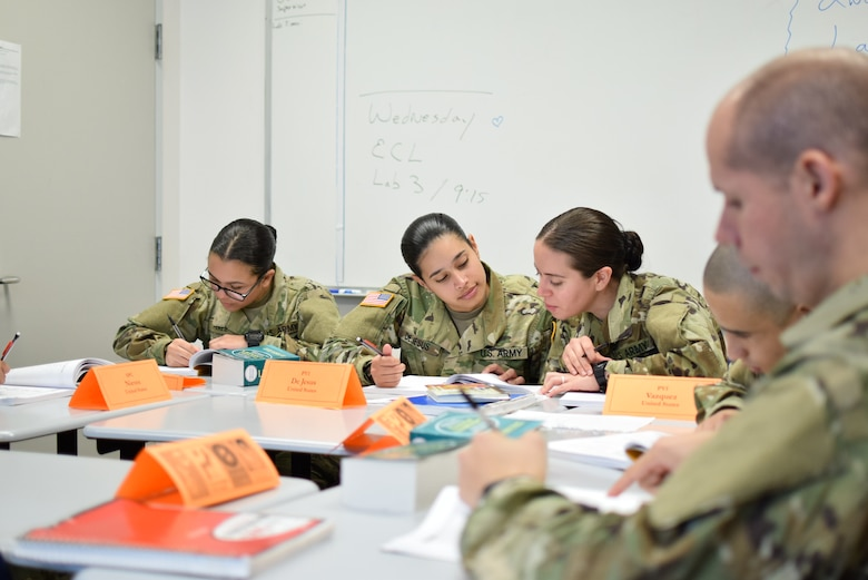 Echo Company trainees pose for a photo in a Defense Language Institute English Language Center hallway between classes. Along with English language training and pre-basic training, trainees have the opportunity to react with the 70 other unique countries on campus at one time.