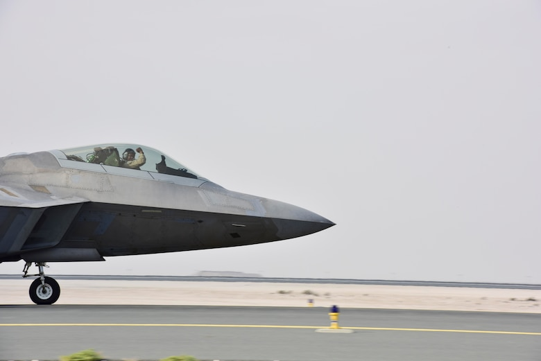 An F-22 Raptor taxis to the runway at Al Udeid Air Base, Qatar on Feb. 1, 2020. The F-22 combines stealth, supercruise, maneuverability, and integrated avionics to provide air superiority throughout the U.S. Air Forces Central Command area of responsibility. (U.S. Air Force photo by Tech. Sgt. John Wilkes)