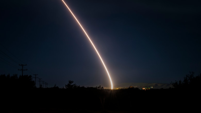 An unarmed Minuteman III intercontinental ballistic missile launches during a developmental test at 12:33 a.m. Pacific Time Wednesday, Feb. 5, 2020, at Vandenberg Air Force Base, Calif. (U.S. Air Force photo by Airman 1st Class Aubree Milks)